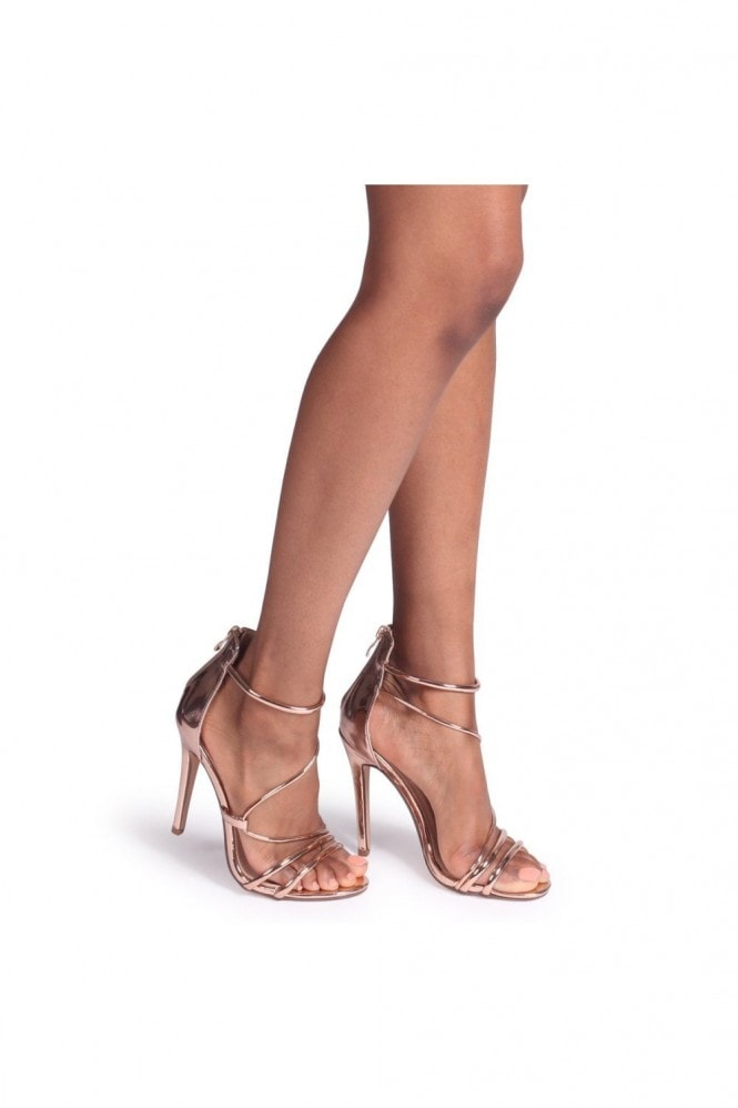 Linzi CORINNA - Rose Gold Metallic Strappy Caged Stiletto Heel With Ankle Strap