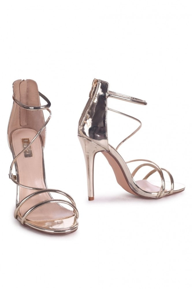 Linzi CORINNA - Gold Metallic Strappy Caged Stiletto Heel With Ankle Strap