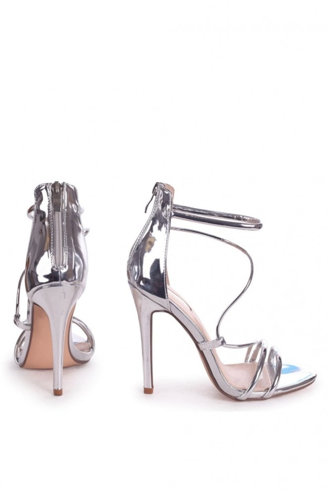 Linzi CORINNA - Silver Metallic Strappy Caged Stiletto Heel With Ankle Strap