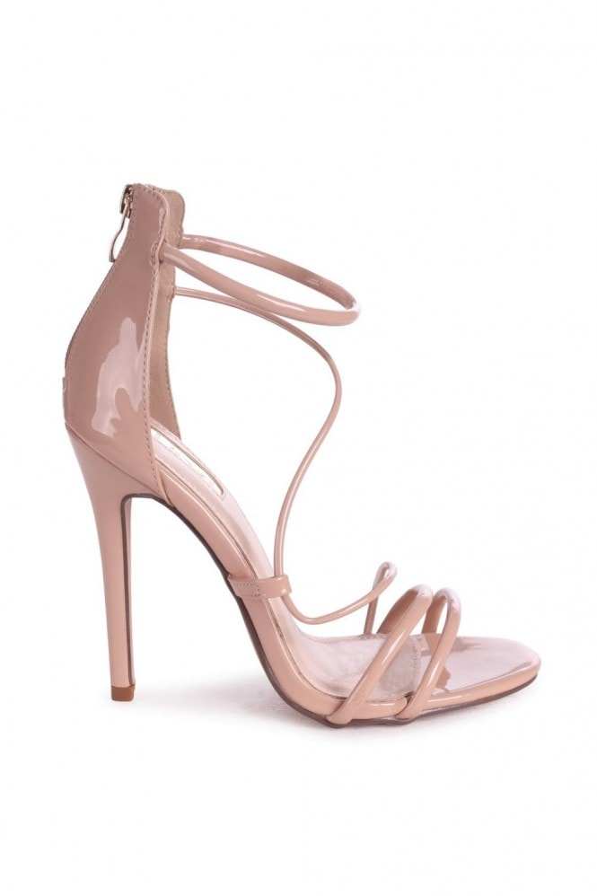Linzi CORINNA - Mocha Patent Strappy Caged Stiletto Heel With Ankle Strap