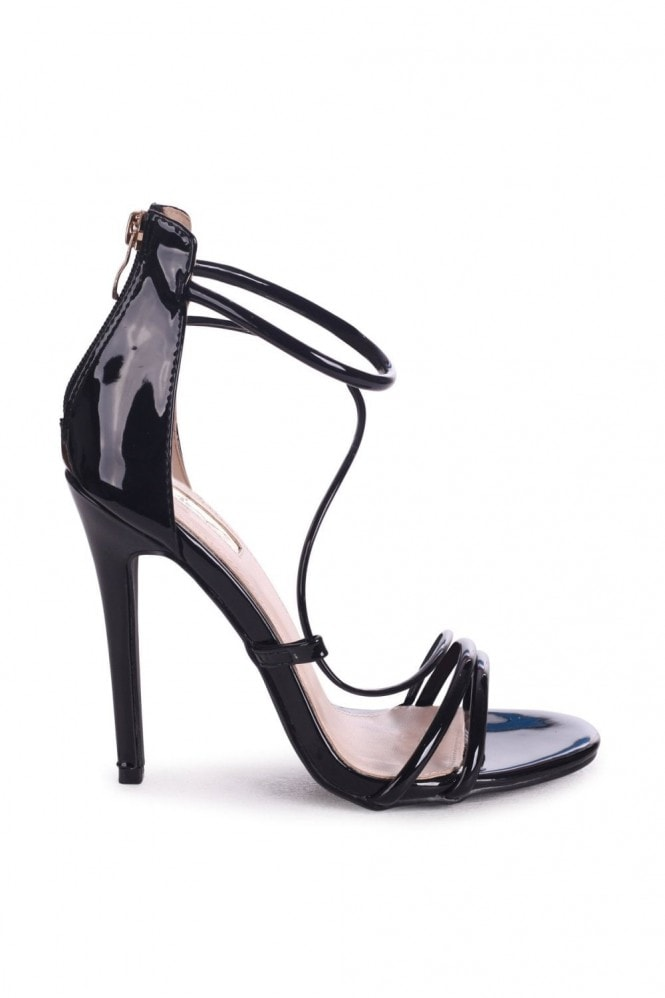 Linzi CORINNA - Black Patent Strappy Caged Stiletto Heel With Ankle Strap