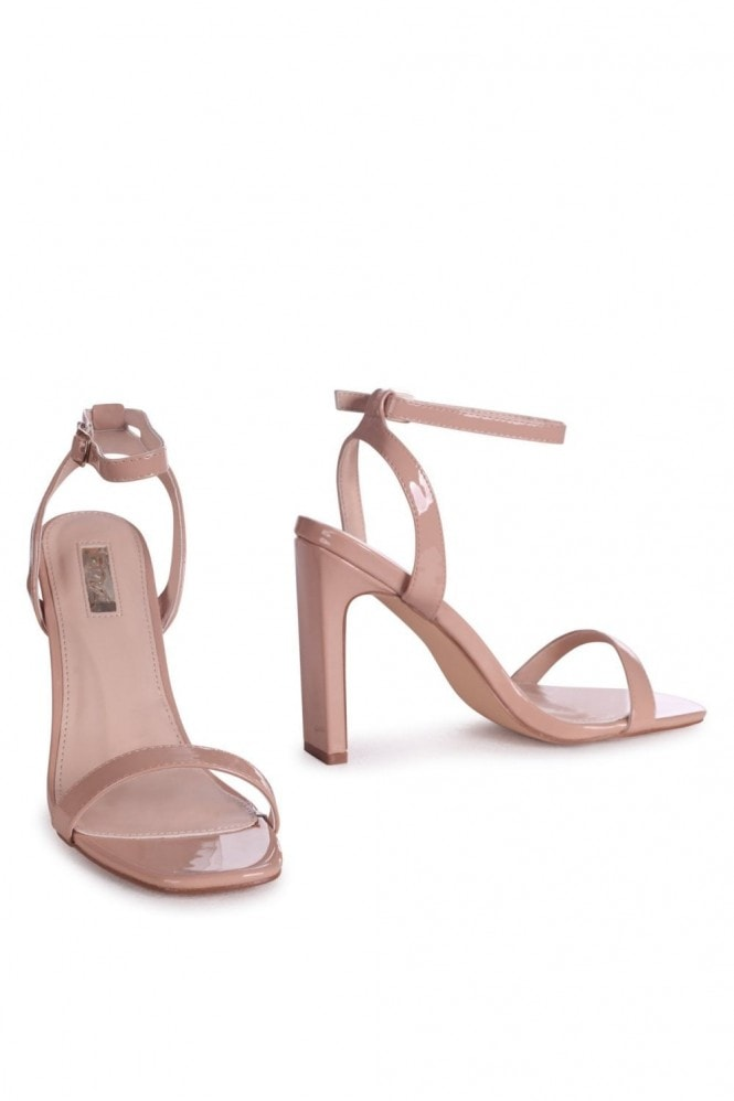 Linzi BOBBIE - Nude Patent Slim Heeled Sandal With Square Toe