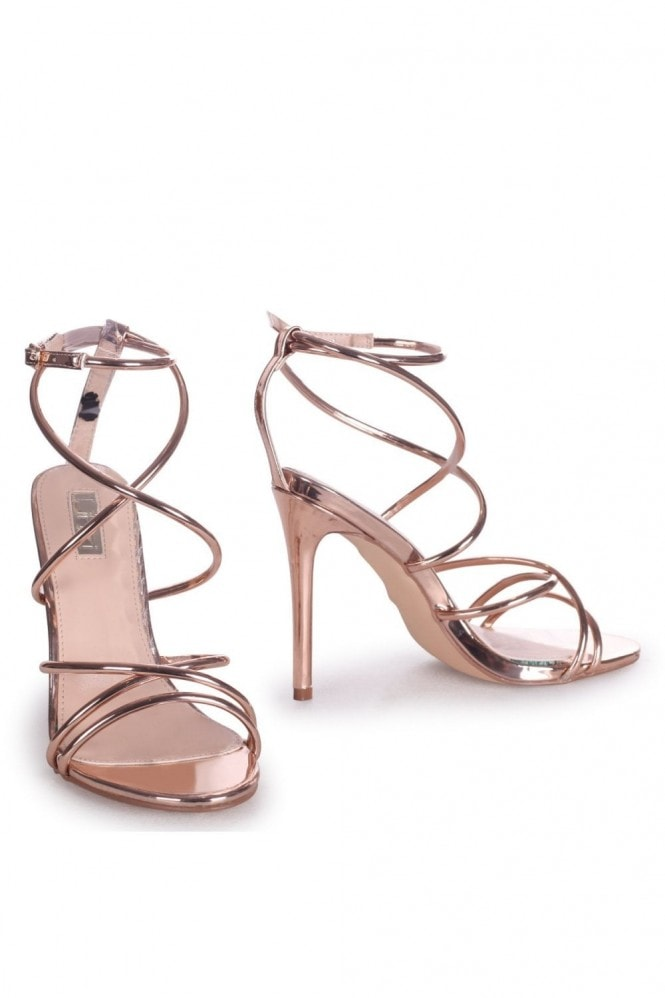 Linzi DIVINE - Rose Gold Strappy Stiletto Heel With Ankle Strap