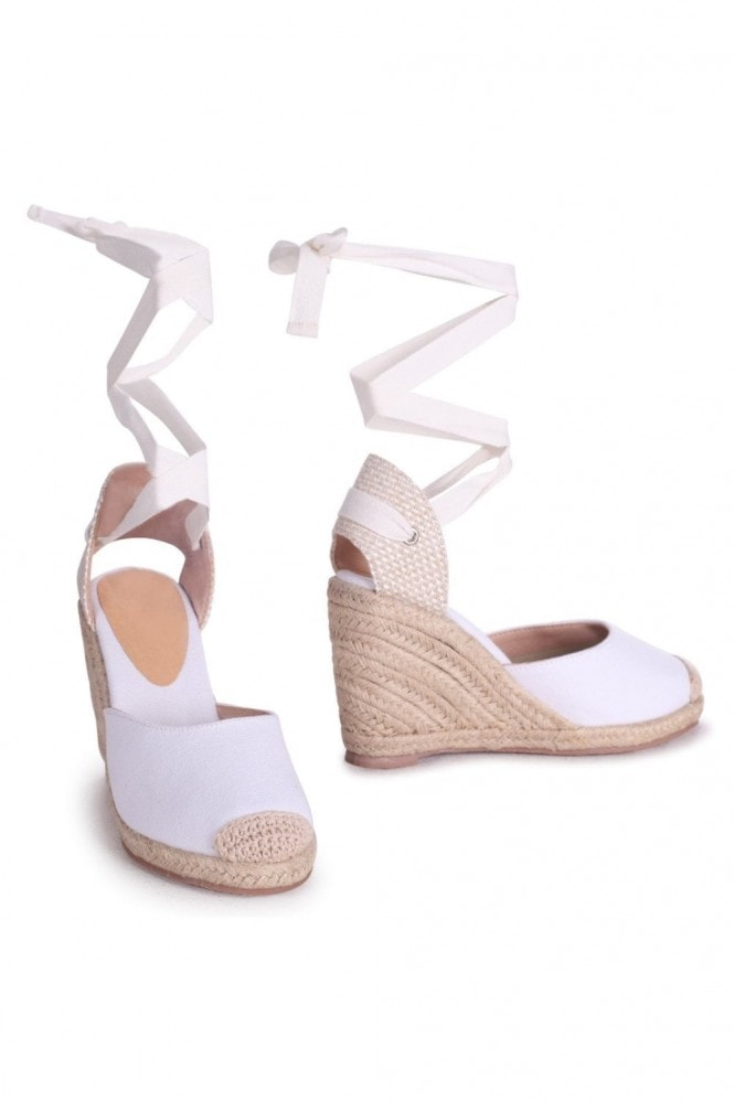 Linzi MEGHAN - White Canvas Closed Toe Espadrille Wedge With Tie Up Straps