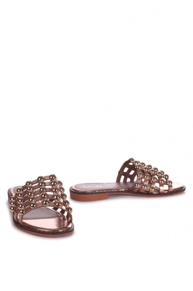 Linzi COOKIE - Rose Gold Slip On Slider With Studded Front Strap