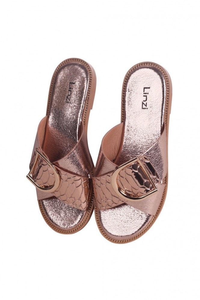 Linzi VEGAS - Rose Gold Slip On Slider With Crossover Front Strap & Giant Buckle Detail