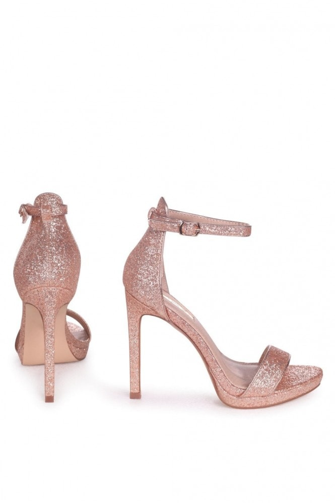 Linzi GABRIELLA - Rose Gold Glitter Barely There Stiletto Heel With Slight Platform