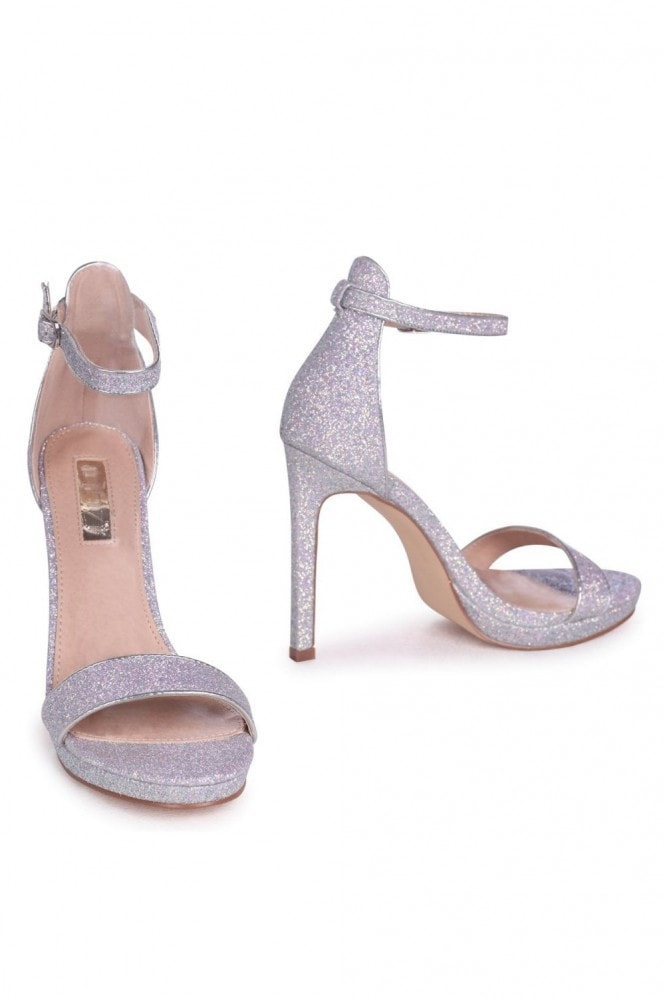 Linzi GABRIELLA - Silver Glitter Barely There Stiletto Heel With Slight Platform