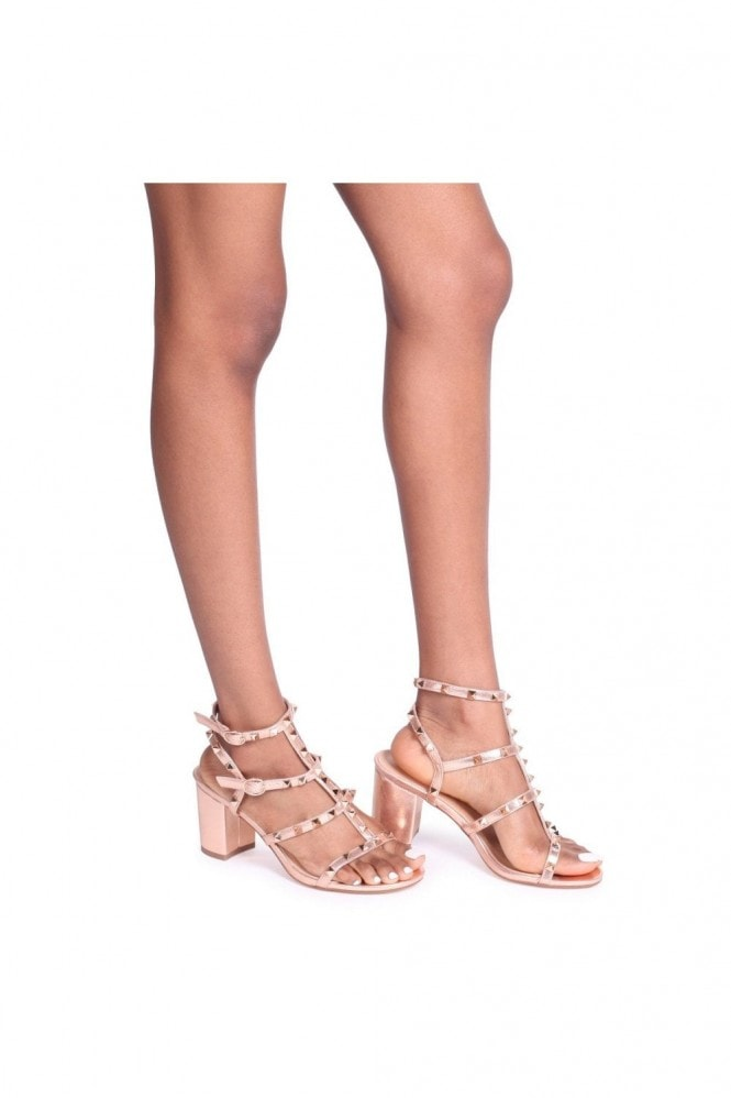 Linzi TESSA - Rose Gold Studded Block Heeled Sandal