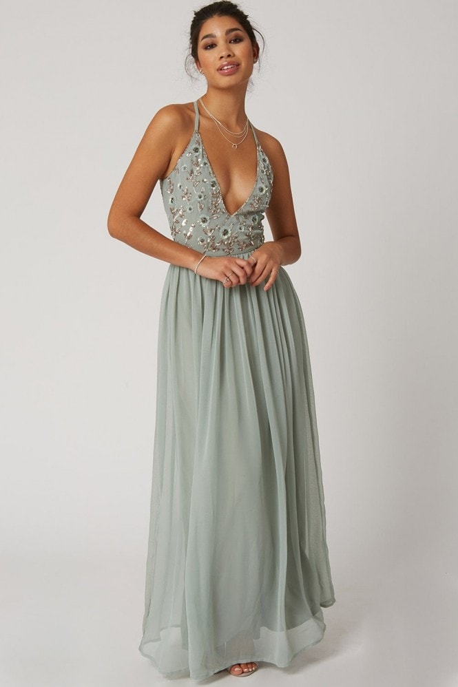 Little Mistress Luxury Tilly Waterlily Hand-Embellished Floral Sequin Plunge Maxi Dress