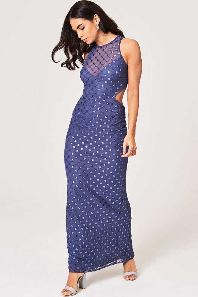 Little Mistress Anaïs Lavender Grey Sequin Maxi Dress
