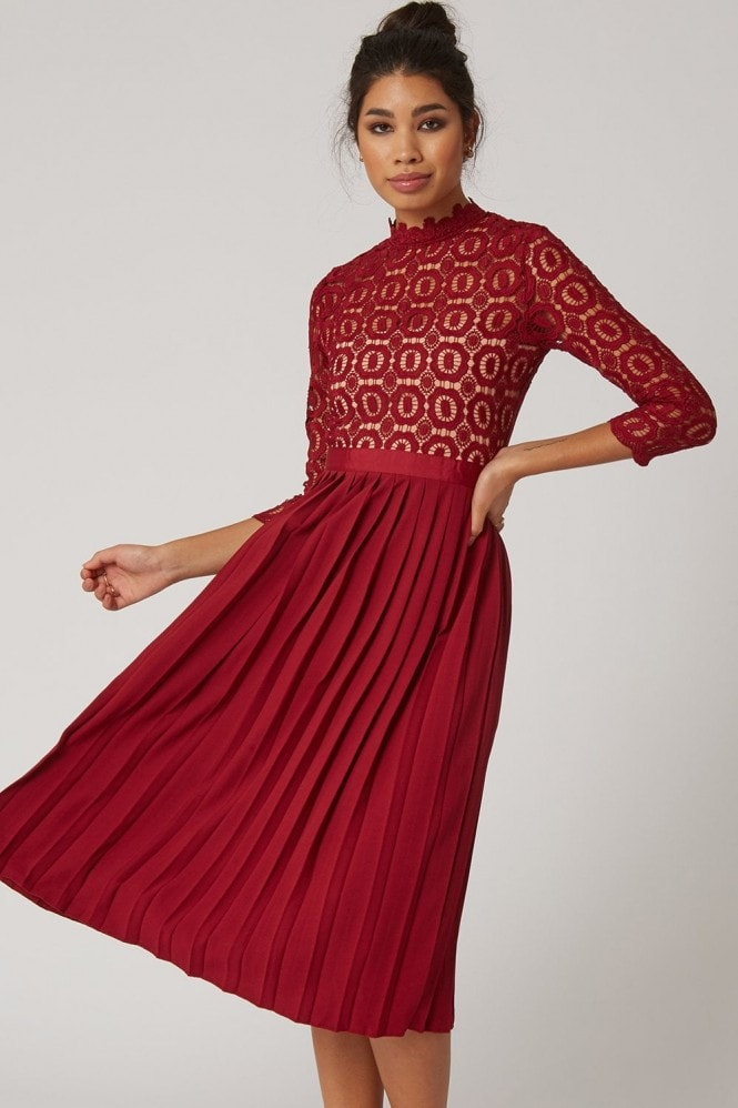Little Mistress Alice Oxblood 3/4 Sleeve Crochet Top Midi Dress With Pleated Skirt