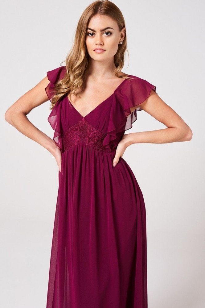 Little Mistress Nikki Mulberry Lace And Frill Maxi Dress