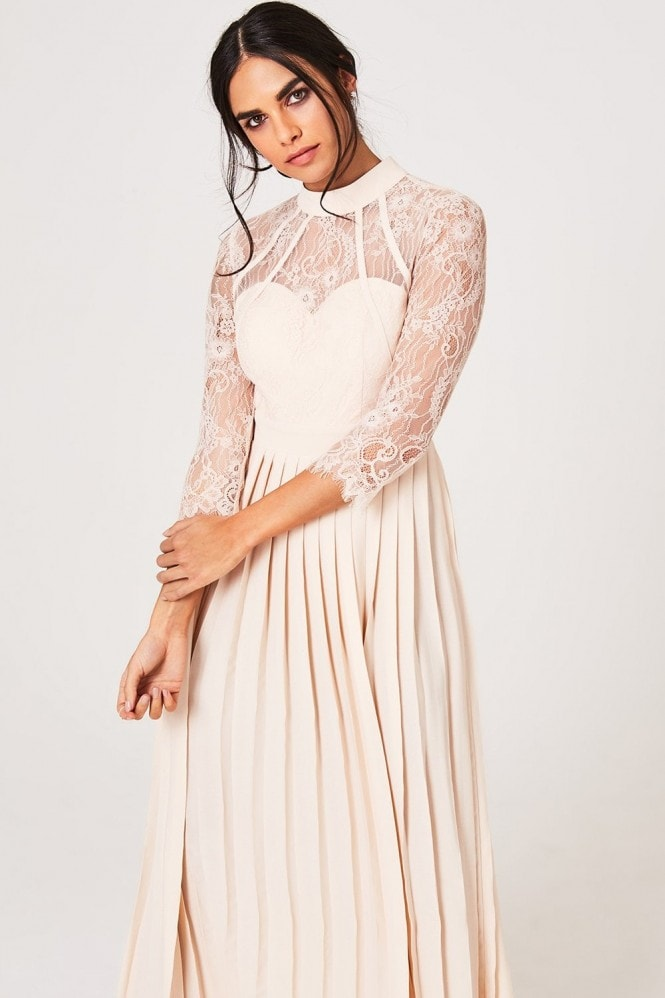 Little Mistress Emmy Nude Lace Pleated Maxi Dress