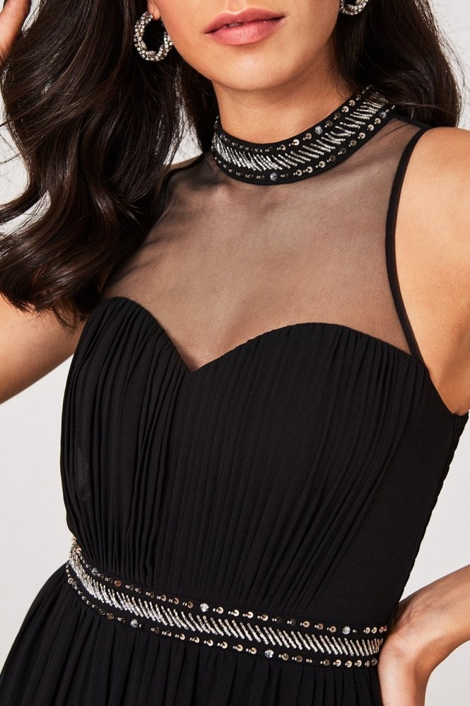 Little Mistress Shauna Black Embellished Maxi Dress