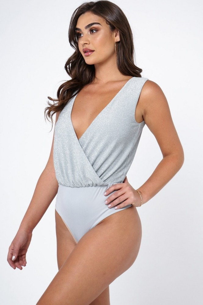 The Girlcode Metallic Glitter Wrap Front Sleeveless Bodysuit