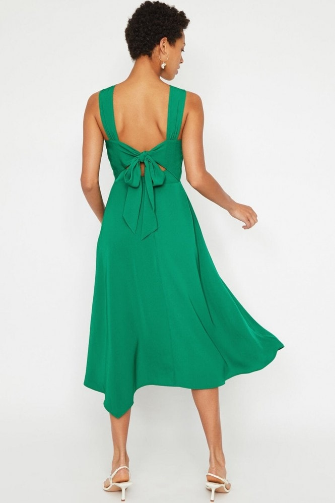 Warehouse Bright Green Tie Back Midi Dress