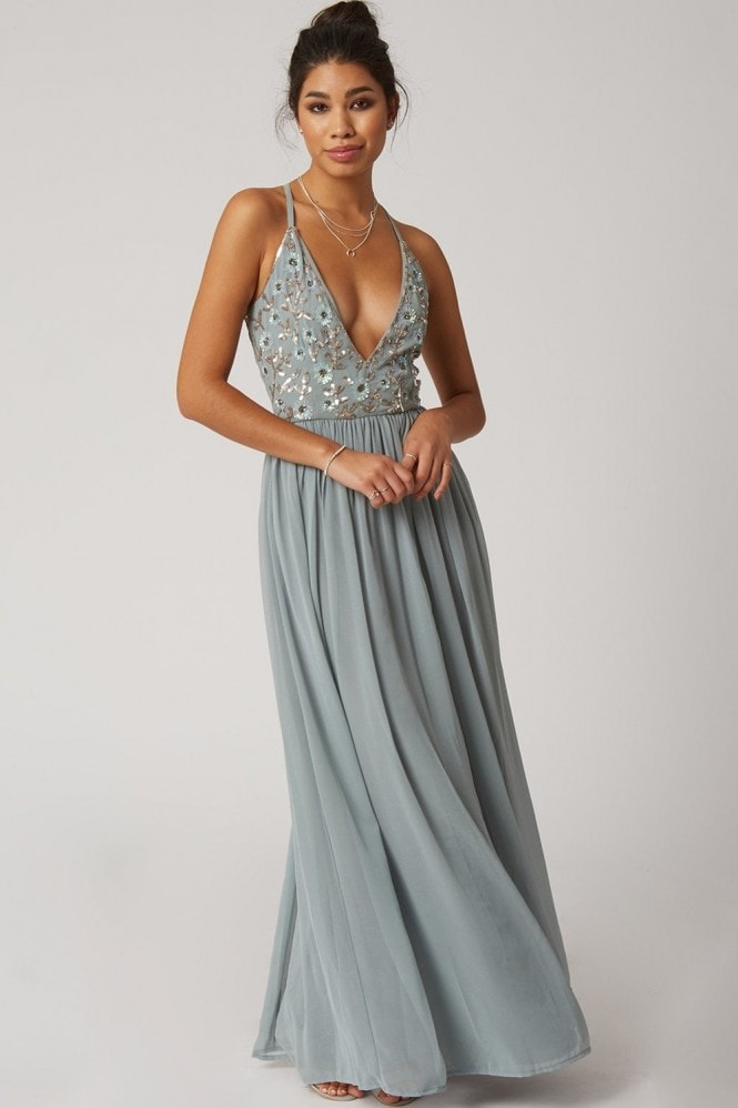 Little Mistress Luxury Tilly Blue Floral Hand-Embellished Sequin Plunge Maxi Dress