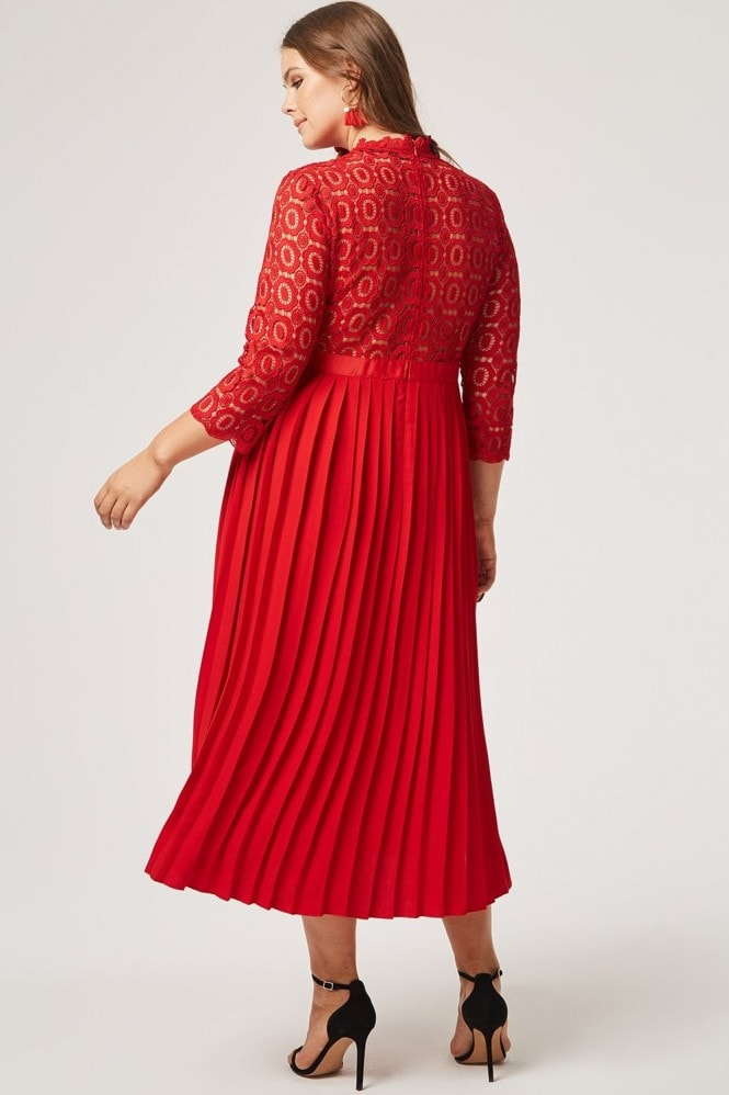 Little Mistress Curvy Alice Red Crochet Top Dress With Pleated Skirt