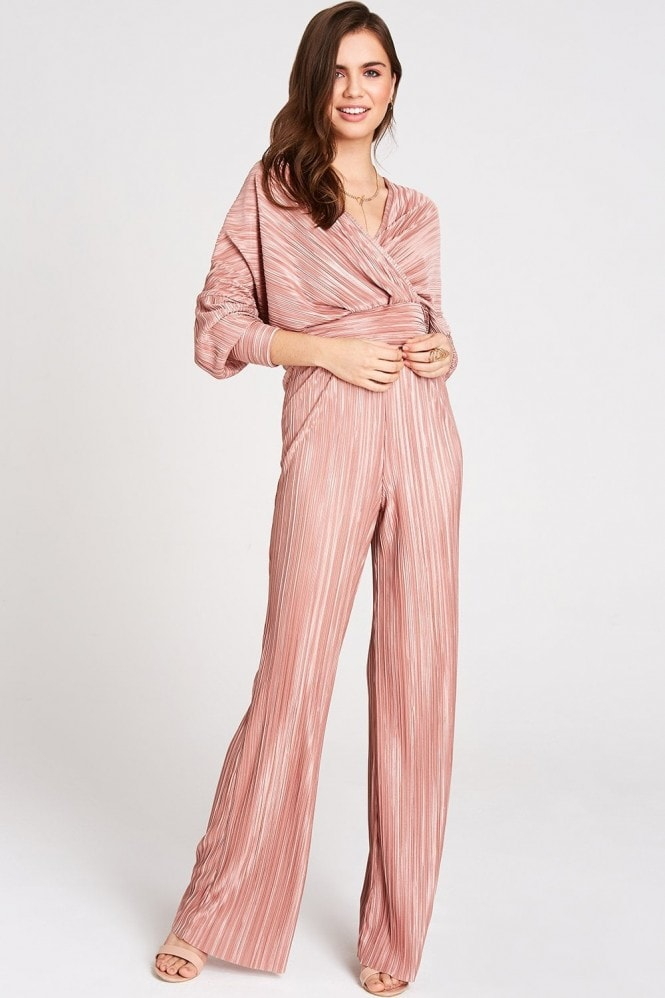 Girls on Film Leandra Pink Plisse Top Co-Ord