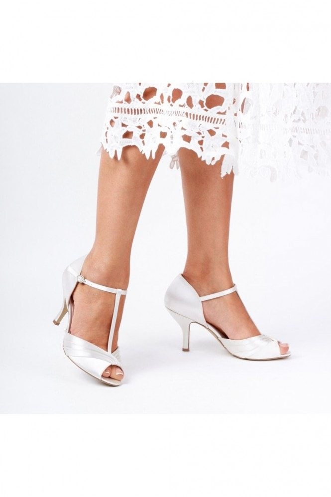 Paradox London Belvoir Ivory Low Heel T-Bar Peep Toe Shoes