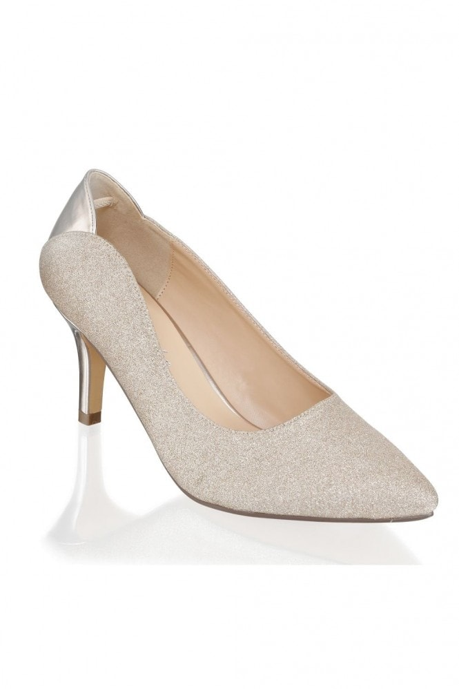 Paradox London Fabrizia Champagne Wide Fit Mid Heel Court Shoes