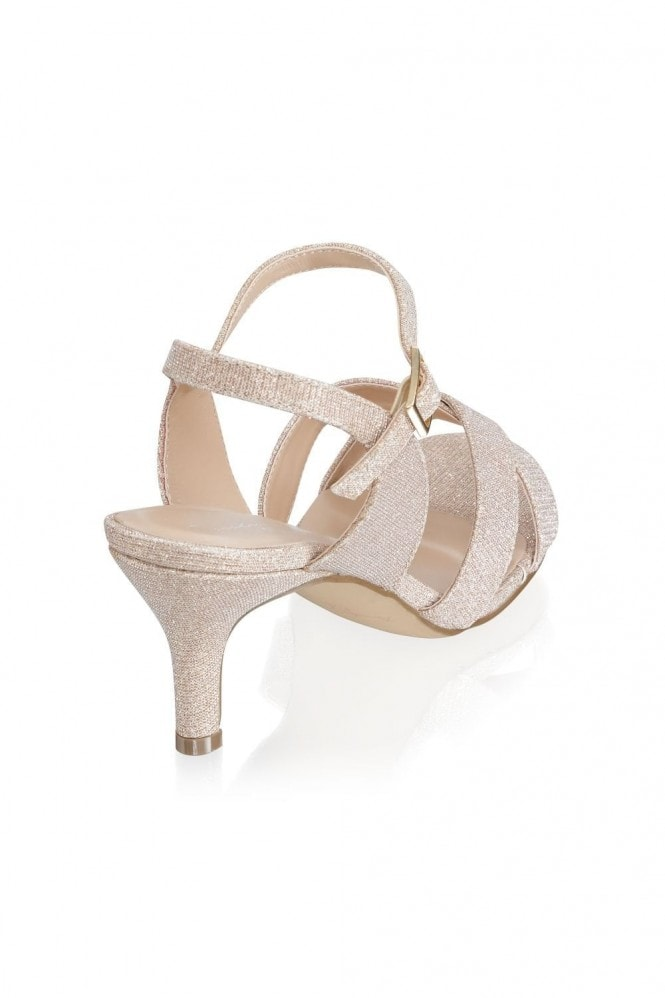 Paradox London Haniya Champagne Extra Wide Fit Mid Heel Ankle Strap Sandals