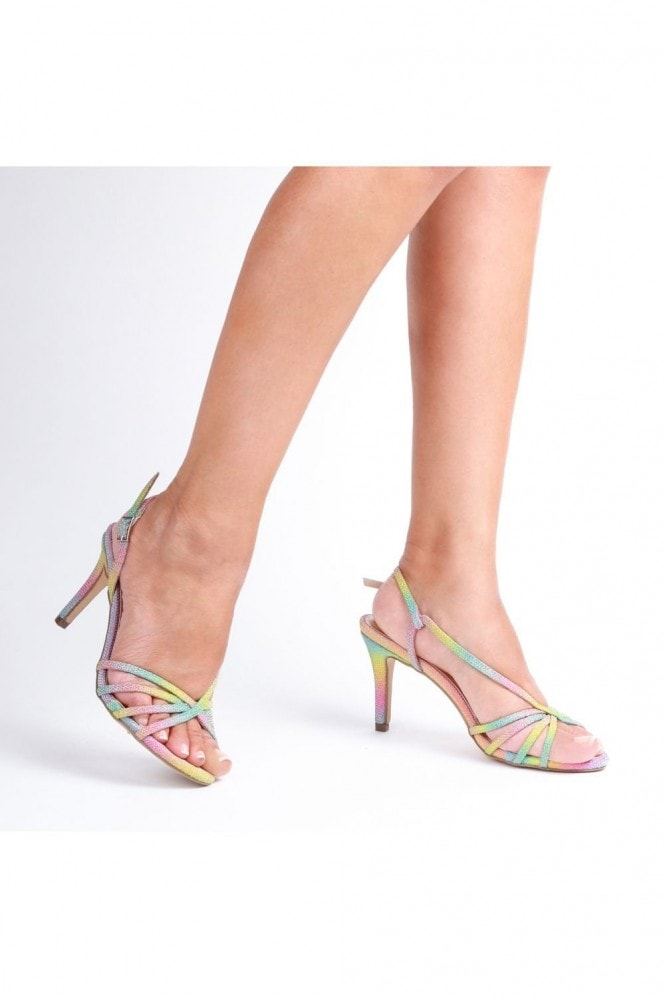 Paradox London Hattice Rainbow Mid Heel Ankle Strap Caged Sandals