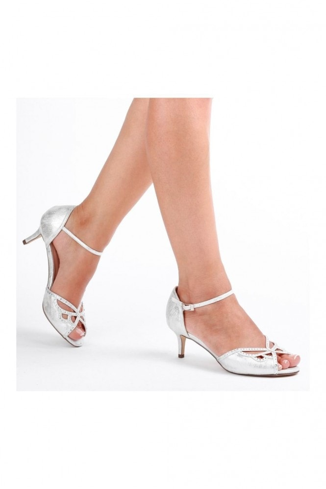 Paradox London Hisaki Silver Extra Wide Fit Mid Heel Ankle Strap Sandals