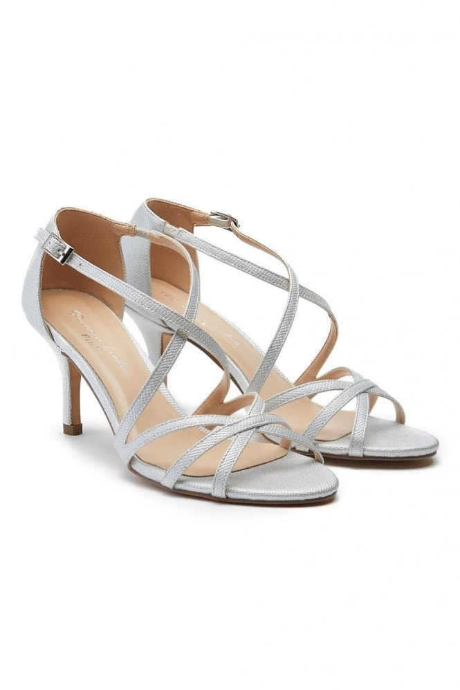 Paradox London Lydia Silver Mid Heel Ankle Strap Sandals