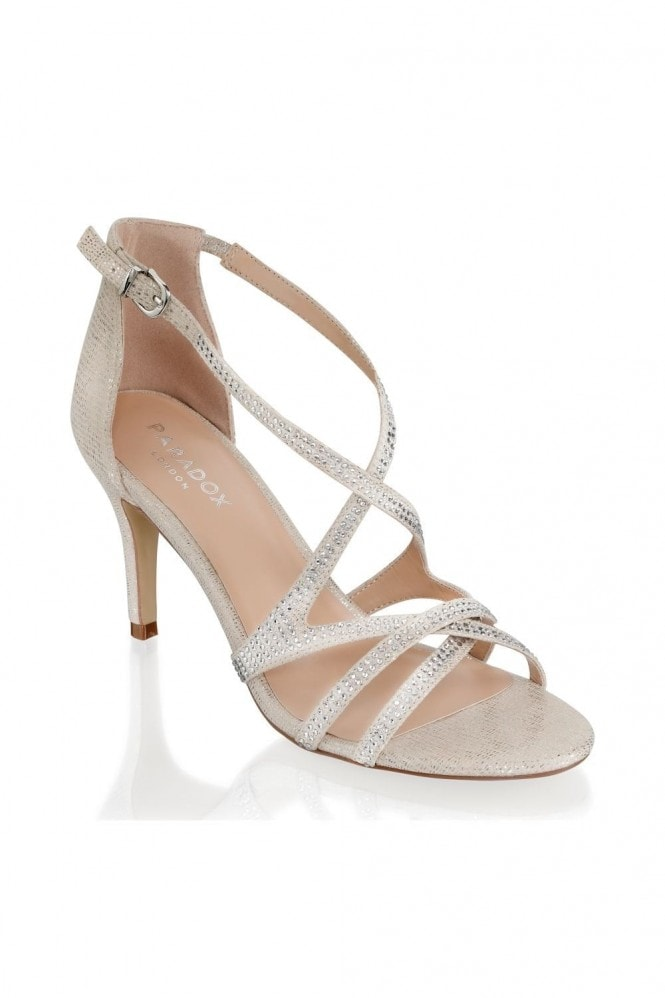 Paradox London Romelia Champagne Low Heel Crossover Strappy Sandals
