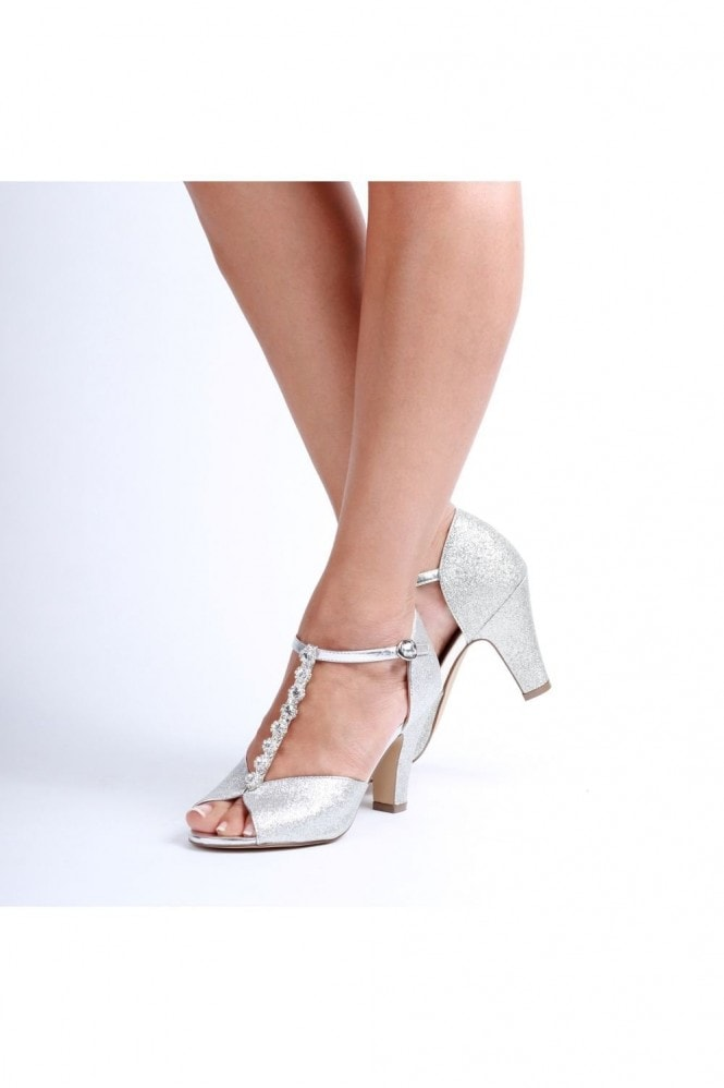Paradox London Rosie Silver Low Heel T-Bar Peep Toe Shoes