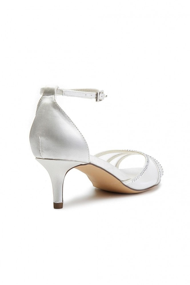 Paradox London Luna Ivory Extra Wide Fit Low Heel Ankle Strap Sandals