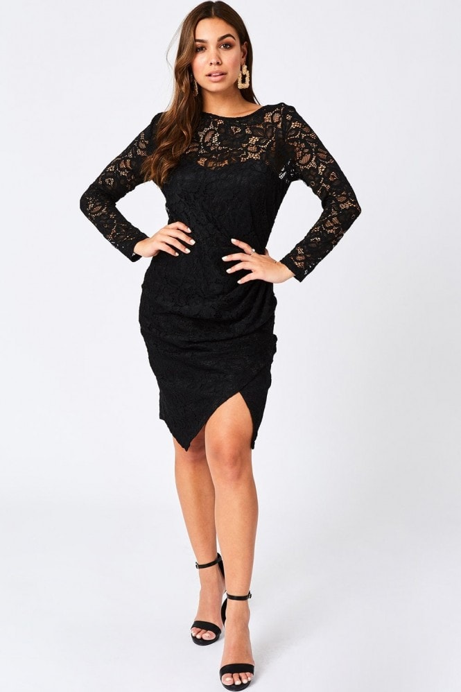 Paper Dolls Ama Black Ruched Lace Dress