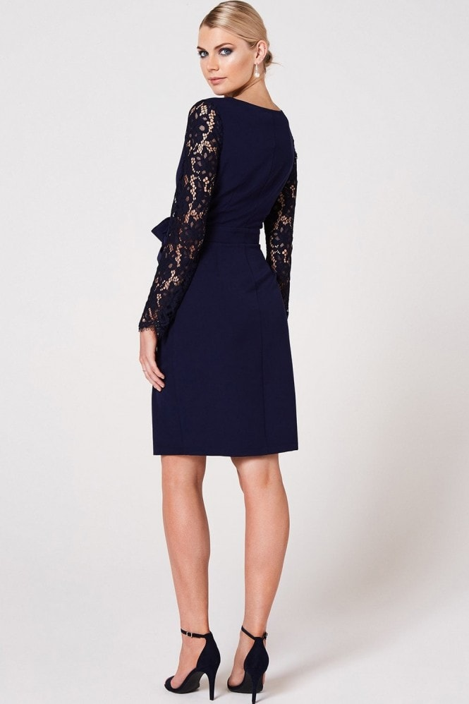 Paper Dolls Sapporo Navy Lace Sleeve Wrap Dress