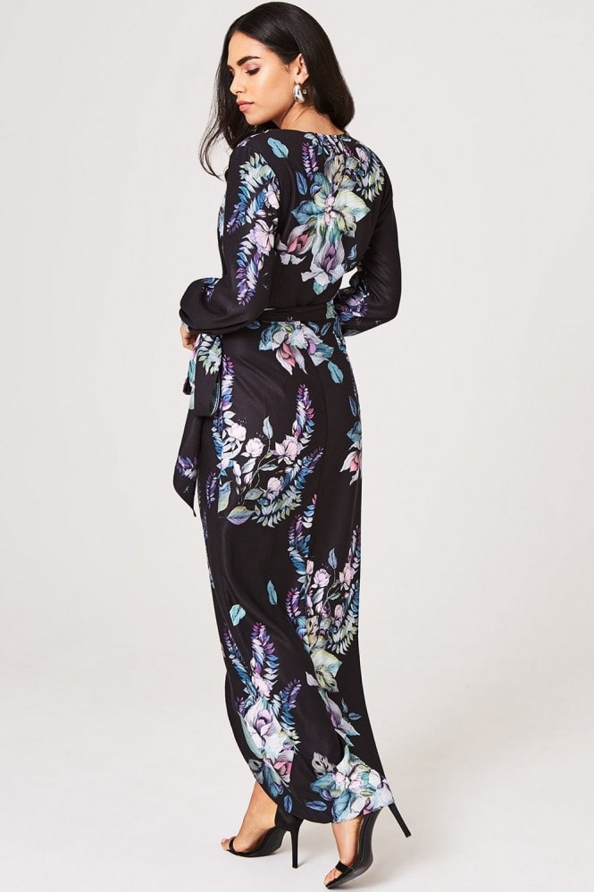 Little Mistress Roxby Black Floral Long-Sleeve Maxi Dress