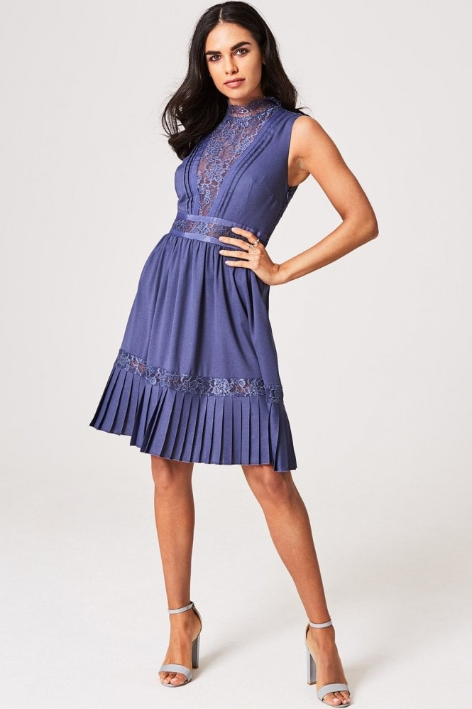 Little Mistress Anaïs Lavender Grey Lace-Trim Skater Dress