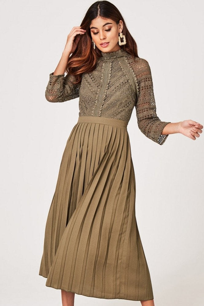 Little Mistress Laurie Khaki Crochet Lace Midaxi Dress