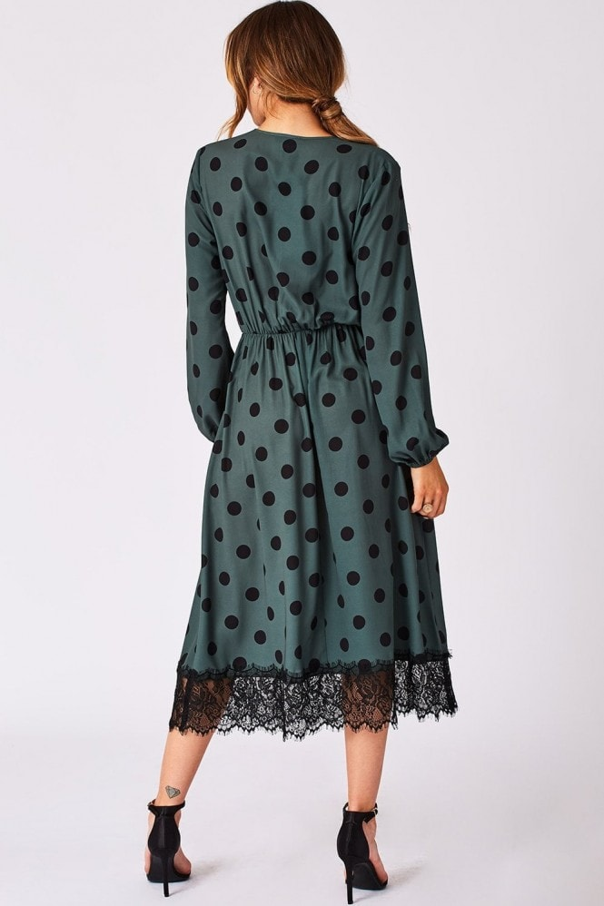 Girls on Film Cosset Green Polka-Dot Lace-Trim Midi Dress