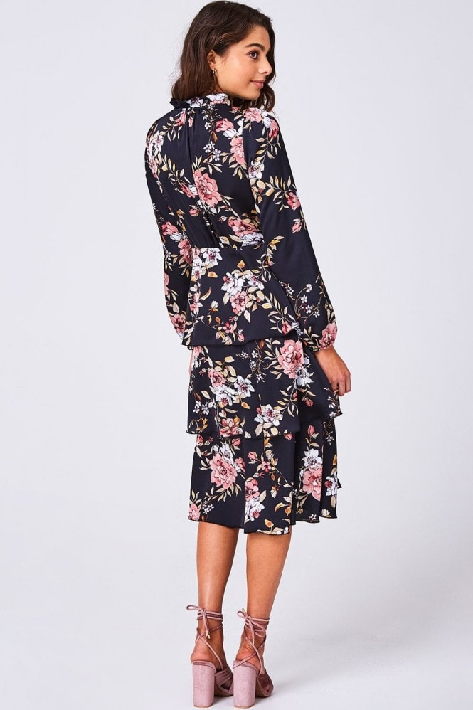 Girls on Film Peace Black Floral-Print Tiered Midi Tea Dress