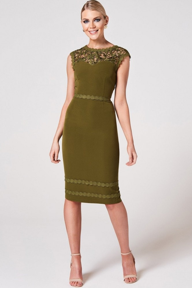 Paper Dolls Enzi Olive Lace-Trim Bodycon Dress