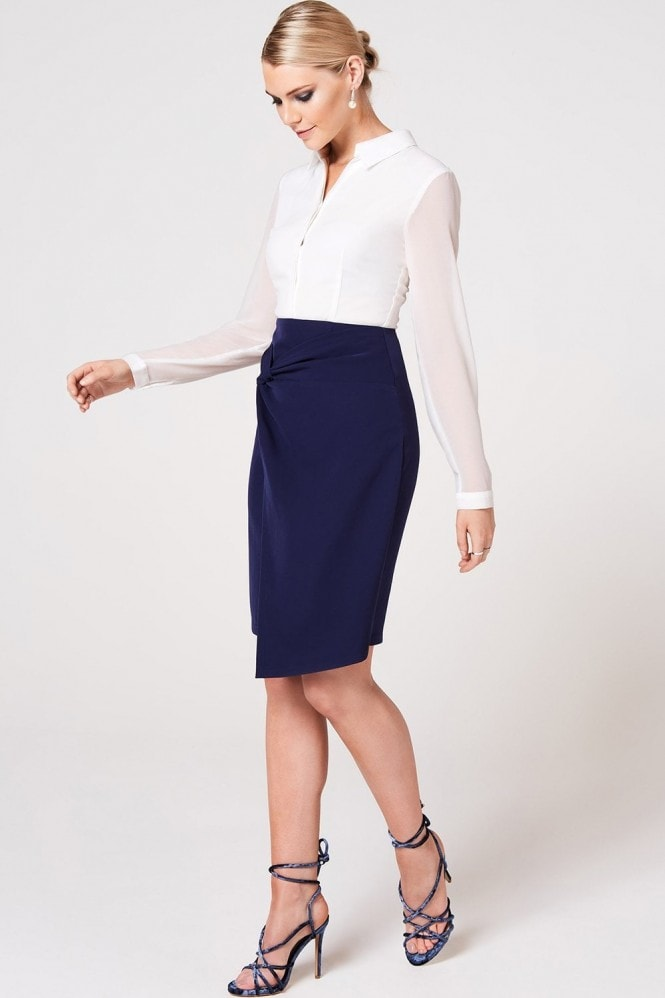 Paper Dolls Soma Navy Twist Detail Shirt Dress