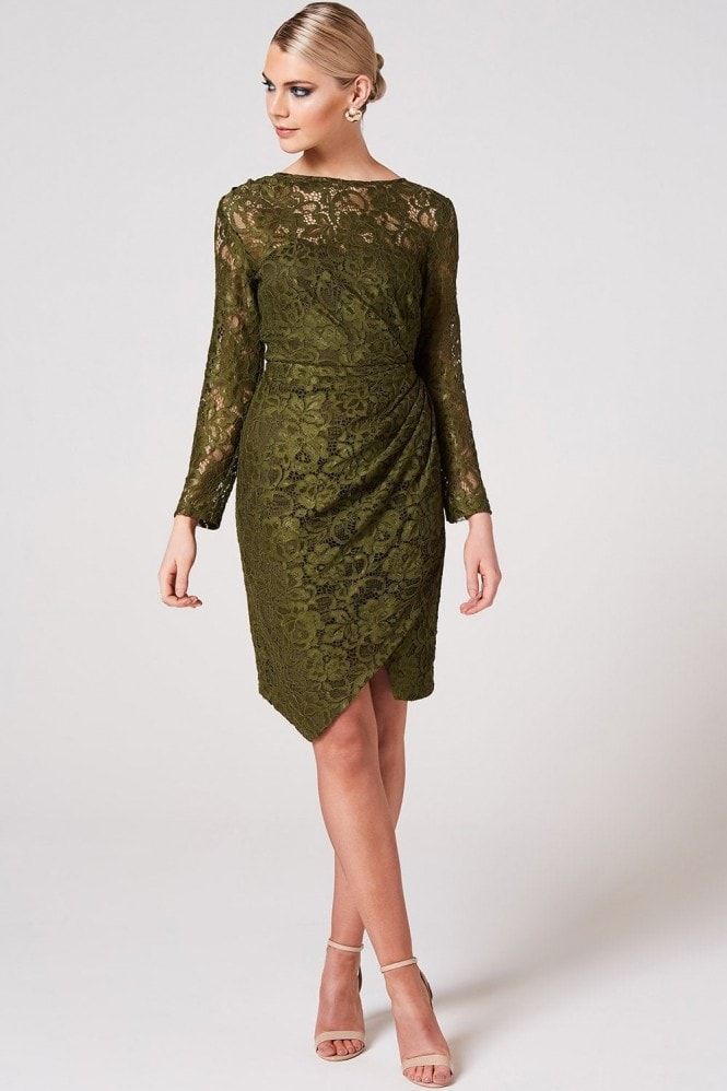 Paper Dolls Ama Olive Ruched Lace Dress