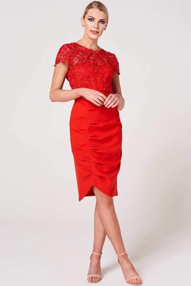 Paper Dolls Nala Tomato Crochet Belted Dress