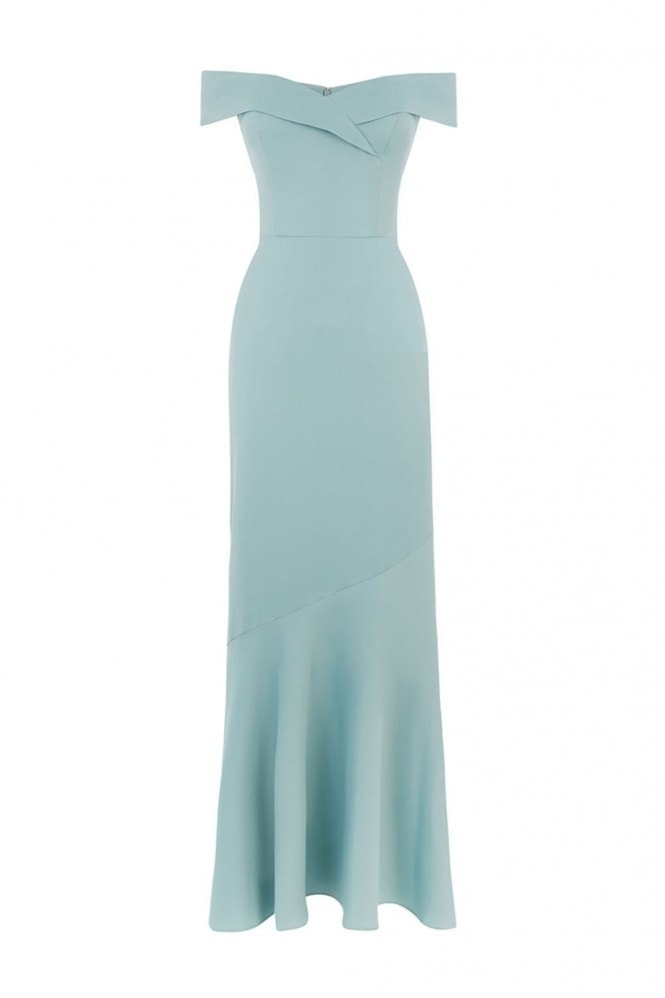 Oasis Pale Green Bardot Slinky Maxi Dress