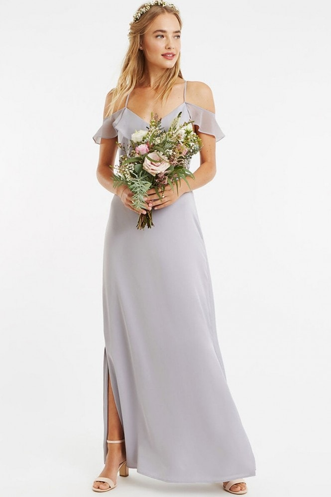 Pale Grey Ruffle Satin Maxi Dress