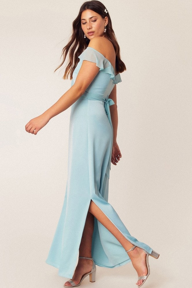 Oasis Pale Green Ruffle Satin Maxi Dress