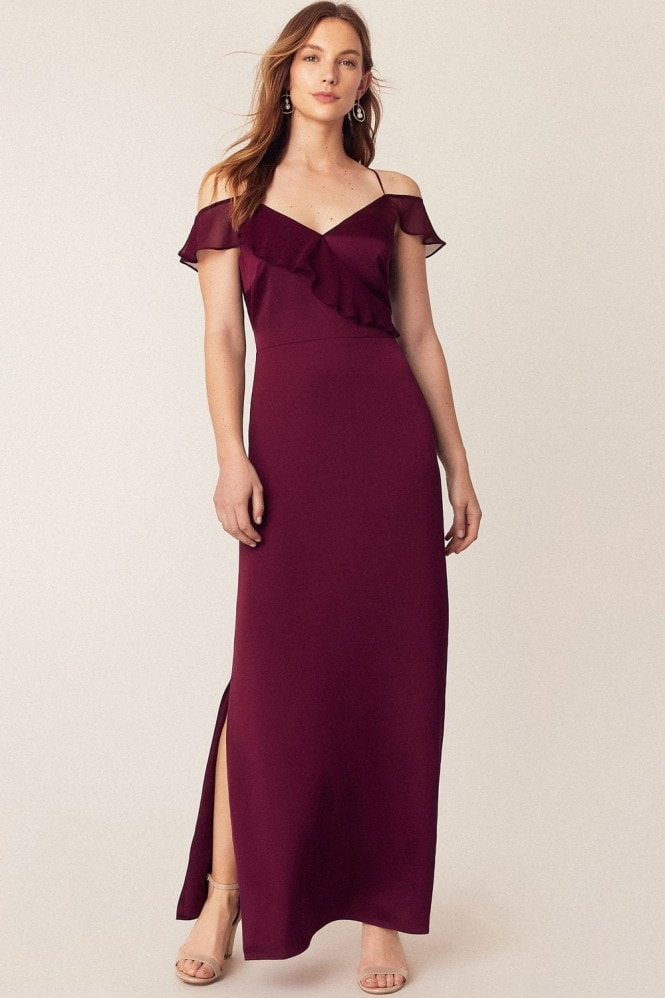 Oasis Burgundy Ruffle Satin Maxi Dress