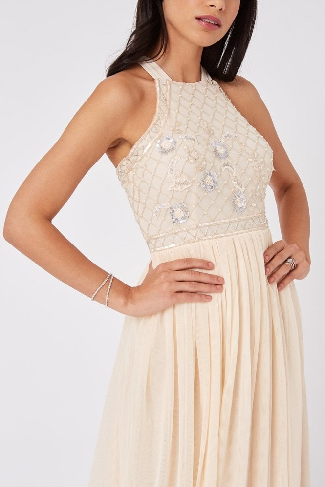 Little Mistress Luxury Ruth Nude Floral Sequin Hand-Embellished Maxi Dress