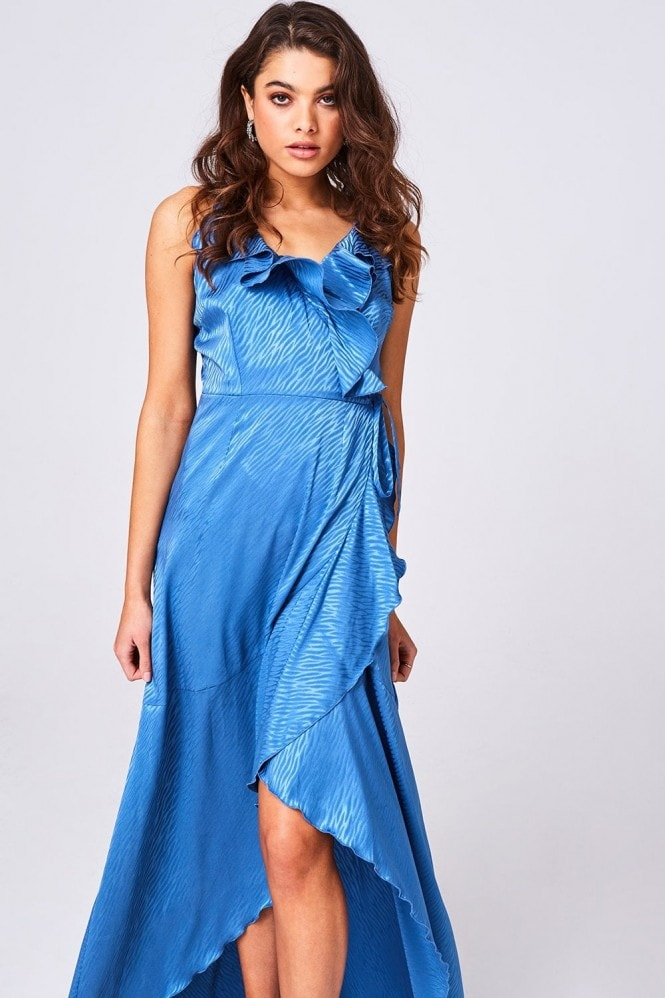 Girls on Film Glory Blue Animal-Print Satin Frill Maxi Wrap Dress